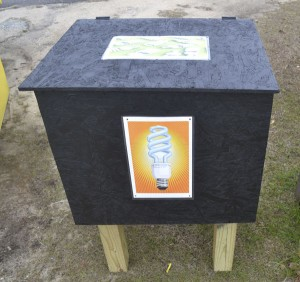 Citizens can safely dispose of their compact fluorescent bulbs at this drop-off box in the city recycling center.