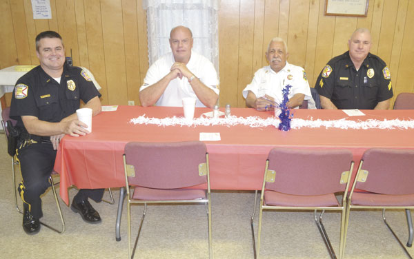 Among those who enjoyed the meal Tuesday were, left to right, Atmore Police Chief Jason Dean, Atmore Public Safety Director Glen Carlee, Atmore Fire Chief Gerry McGhee and Sgt. Arthur Odom of the Atmore Police Department.