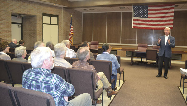 U.S. Rep. Bradley Byrne spoke to Atmore residents and addressed their concerns during a town hall meeting Tuesday.