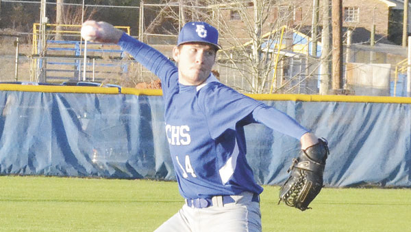 Escambia County High School pitcher Matthew Quimby delivers a pitch against Flomaton on Friday. Although the Blue Devils lost that game 15-0, Quimby was strong in his four innings of work, allowing just one unearned run.