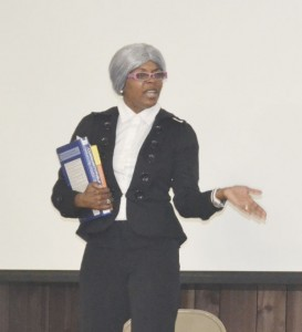 LaShanda Marshall recounted the story of Rosa Parks, with the help of costume and song.