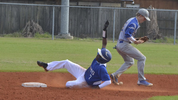 ECHS's Rashaun Flavors steals second base in the fourth inning of the Blue Devils' 13-2 loss to visiting W.S. Neal on Wednesday.|Photo by Justin Schuver