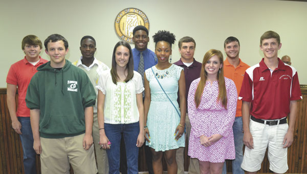 Students selected for Boys and Girls State were: front row, left to right, Jacob Esser, Brooke Bell, Christin Simpkins, Claire Dawe and Scott Brantley; back row, left to right, Austin Cunningham, Rodrick Felder, Ben Hubert, Nate Smith and Tristan Portwood. Not shown is Tripp Vickery.