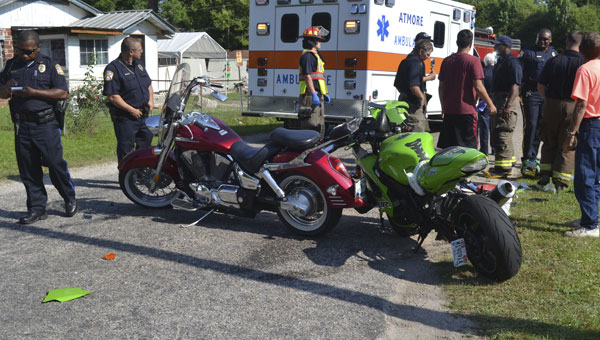 Both drivers of these motorcycles were taken to Atmore Community Hospital with injuries, after a crash near Point Escambia Apartments on Friday afternoon|Photo by Allison Brown