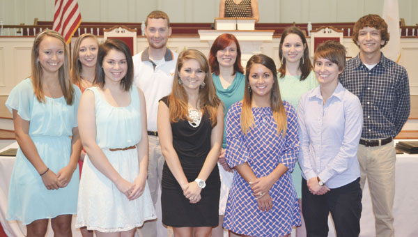 Students honored as Four-Year Academic All-Stars Thursday were Sarah Weatherford, Courtney Weaver, Victoria Wright, Matthew Quimby, Annah Nichols, Courtney Solari, Tristen Boothe, Abby Akins, Kasie Braun and Travis Smith.|Photo by Bub Gideons