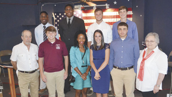 Ten high school students who attended Boys and Girls State were honored by the American Legion on Tuesday. Shown are: back row, left to right, Rodrick Felder, Ben Hubert, Tristan Portwood and Scott Brantley; front row, left to right, American Legion Post 90 member Noah McBride, Austin Cunningham, Christin Simpkins, Brooke Bell, Nate Smith and Post 90 Auxiliary member Linda Gates. Not shown are students Claire Dawe and Jacob Esser.