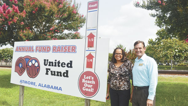The United Fund of Atmore is slightly short of its goal for 2014, and vice president Sandra Gray and president Bub Gideons are encouraging all businesses to give to the fund, which helps support a variety of local causes.