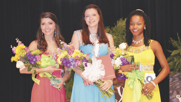 Ten young ladies participated in Saturday's Distinguished Young Woman 2015 contest at Jeff Davis Community College in Brewton. T.R. Miller's Ryan Garmeson, center, took first place; Escambia Academy's Megan Fournier, left, was first alternate; and Escambia County High School's Christin Simpkins, right, was second alternate.