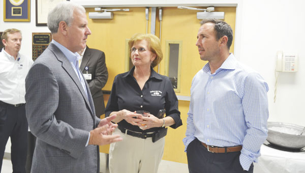 U.S. Rep. Bradley Byrne talks with Debbie Rowell and Robbie McGhee during his visit to Atmore Community Hospital on Monday.