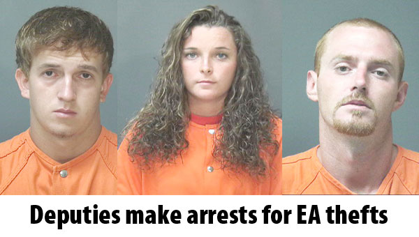 Escambia County Sheriff's Office deputies recently charged four suspects for two separate burglaries that took place at EA in recent weeks. The suspects are, left to right, Lawrence Ramer, 19, Chelsey Ramer, 19, and Christopher Nall, 29. The fourth suspect was a 17-year-old juvenile who was not identified.