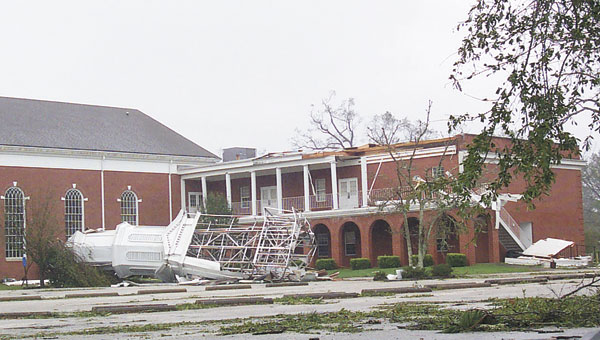 David Gehman's photograph captures a lasting image from Hurricane Ivan, when it destroyed the steeple tower at First Baptist Church 10 years ago.|Photo by David Gehman