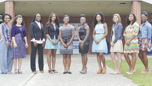 Escambia County High School is celebrating its homecoming this week. Homecoming court members are, left to right, freshman Diamond Kidd, junior Marina Whatley, junior Dominique Lee, senior Dominique Beckham, senior Laderrica McKenzie, senior Ychelle Walker, senior Christin Simpkins, sophomore Haley Fretwell, sophomore Hannah Martin and freshman Mercedes Hall.