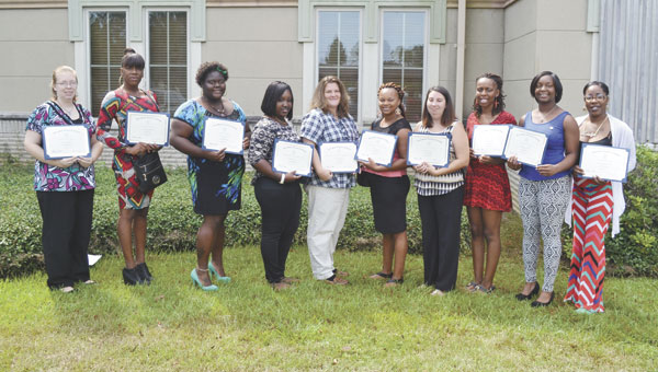 Graduates from the Brewton/Atmore area included, left to right, Rebekah Parker, Cortina James, Hillary Williams, Shaterane McNeal, Angela Capers, Latoya Washington, Holly Carnley, Isha Thompson, Charletha Ikner and Tamara Silar.
