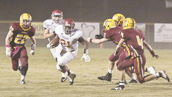 EA running back Gordon Brooks had three touchdowns in Friday's 51-0 win for the Cougars.