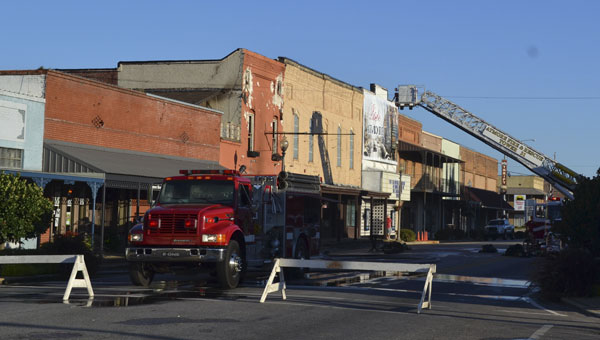 Main Street was still blocked off Sunday morning as firefighters continued to clean up the damage.