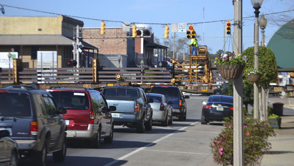 Traffic was diverted on Main Street on Monday afternoon, as CSX Corporation employees performed maintenance on the tracks.