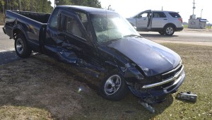 The driver of this Chevrolet S10 sustained a head injury and was transported to Sacred Heart Hospital.