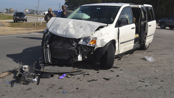 The driver of this Dodge Grand Caravan was injured and transported to North Baldwin Hospital, after a Monday morning crash at the intersection of Highway 21 and Woods Road.