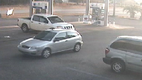 The suspect was reportedly seen driving this silver Ford Focus, which was photographed at the Interstate 65 Exit 54 Chevron gas station on Sunday, Jan. 11.