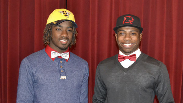 Northview High School seniors Tydre Bradley, left, and Jaylen Parker each officially signed to play college football Wednesday.