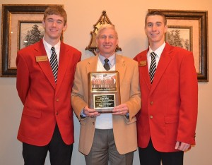 The Chamber Ambassadors presented State Rep. Alan Baker with an award thanking him for nominating them to participate in Gov. Robert Bentley's inauguration parade in January. Shown are, left to right, Ambassador Wesley Hostetler, Baker, and Ambassador Perry Metzler.