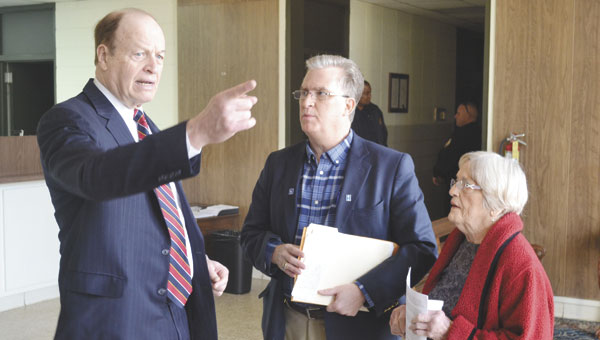 U.S. Sen. Richard Shelby, left, talks Saturday with Atmore Community Hospital Administrator Bill Perkins and Ruth Harrell, chairperson of the Coalition for a Healthier Escambia County.