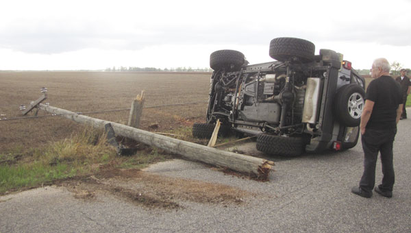 One person was injured after this Jeep collided with a power pole on Chapman Road late Thursday afternoon.|Photo by Michelle Smith