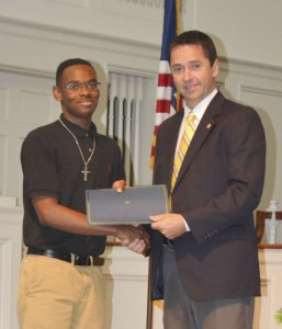 ECHS senior Ty'Anthony Riley received the $2,000 Randolph B. Luttrell Sr. Memorial Scholarship. Rotarian Allen Walston presented the scholarship to Riley.