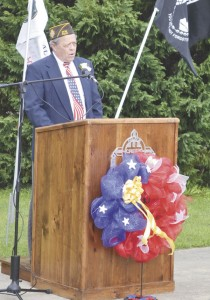 """Former Veterans Service Officer Mike Hanks speaks at the """"Welcome Home Vietnam Veterans"""" ceremony in late March."""