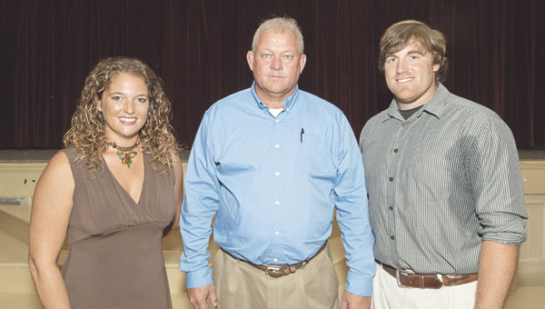 Shown are, left to right, new Escambia Academy softball coach Allie Park, EA football coach and athletic director Hugh Fountain and new EA baseball coach Jeffrey Price Jr. Price is an EA graduate.