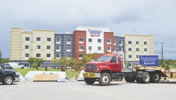 Work continues at the Fairfield Inn and Suites, which is projected to open sometime in August. Another hotel company has expressed interest in coming to Rivercane sometime in the coming months, as well.