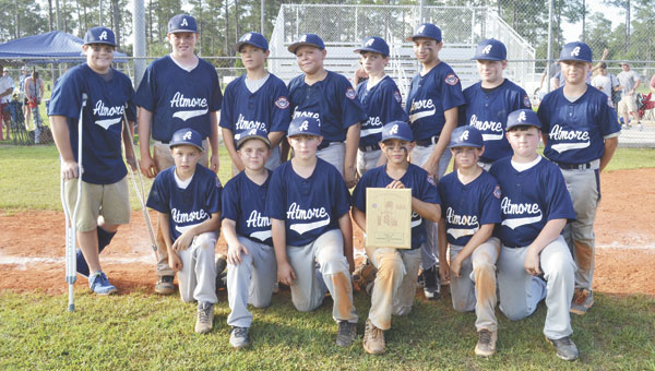 The Atmore 12-and-under Cal Ripken All-Stars won the District 7 tournament at Tom Byrne Park on Sunday, advancing to state. Shown are: back row, left to right, Lane Baggett, J.W. Jackson, Reece Buck, J.J. Stevens, Chaston Helton, Nathan Ragan, Caden Battles and Wilson Price; front row, left to right, Parker Robinson, Levi Joiner, Canyon Odom, Joseph Ferguson, Justin Brunson and Brady Howell. Coaches are Craig Hadley, Eddie Ferguson and Eddie Baggett.