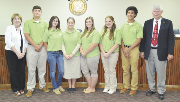 Several Youth Leadership Atmore graduates were publicly recognized at the Atmore City Council's May 26 meeting. Shown are, left to right, YLA steering committee member Shelly Williams, YLA graduates Chris Brown, Jessica Sanspree, Madelyn Boatwright, Haleigh German, Madalynn Grimsley and Brandon Beachy, and Atmore Mayor Jim Staff. YLA graduates not shown are Mikayla Spruill, Torri Scott, Arri Torres, Ethan Heller, Shardae Austin, Emmanuel Morris, Timberly Deese and Nathan Jurjevich.