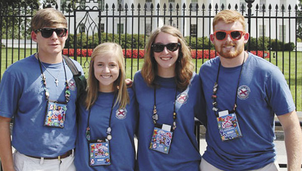 2015 Washington D.C. representatives for Southern Pine Electric Co-op are, left to right, Sidney Bailey of Excel High School, Morgan Ard of Monroe County High School, Alex Dunn of Sparta Academy and Bradley Campbell of Escambia Academy.