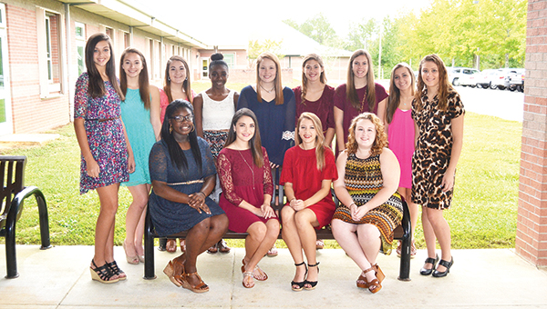 The 2015 Northview High School Homecoming Court. Seated from L to R: Danielle Robinson, Jadlyn Agerton, Savanna Roux and Amber Freeman. Standing from L to R: Ashtyn Carnley, Madison Sherouse, Gabrielle Kline, Celeste North, Anna Nelson, Jerni Crabtree, Autumn Albritton, Morgan Myrick and Brittanie McClemore. Not shown: Jessica Amerson. Allison Brown/Atmore Advance