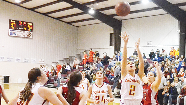 Escambia Academy's Mikayla Spruill shoots a layup during a game last season. | File photo