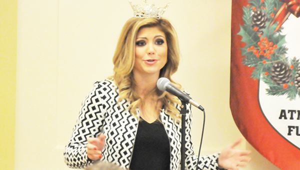 Miss Alabama Meg McGuffin speaks to Rotary Club members. | Andrew Garner/Atmore Advance