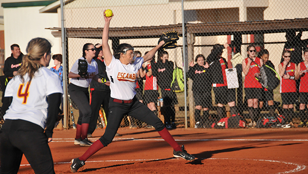 EA's Lexie Hollinger throws a pitch during her 10-9 loss to West Florida Baptist.   Andrew Garner/Atmore Advance