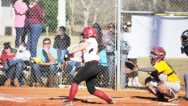 Escambia Acacdemy's Ashlyn Glick connects on a pitch Saturday.   Andrew Garner/Atmore Advance