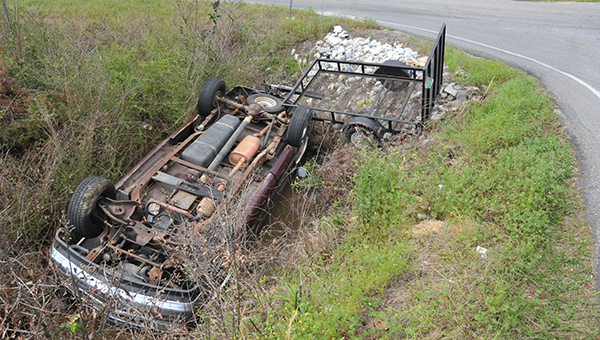 Shown is the truck that John Brown was driving when it overturned in a ditch. | Andrew Garner/Atmore Advance