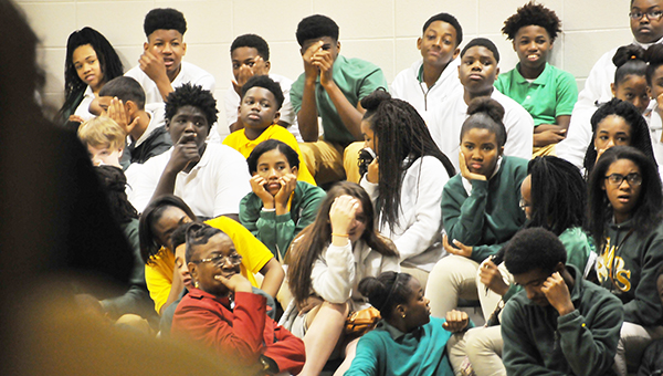 Escambia County Middle School students react to seeing a photo of the effects of using the drug, krokodil. | Andrew Garner/Atmore Advance