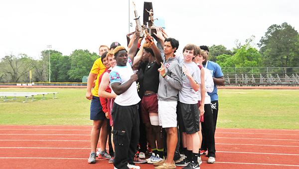 Escambia Academy's boys track and field team celebrates its state championship today. | Andrew Garner/Atmore Advance