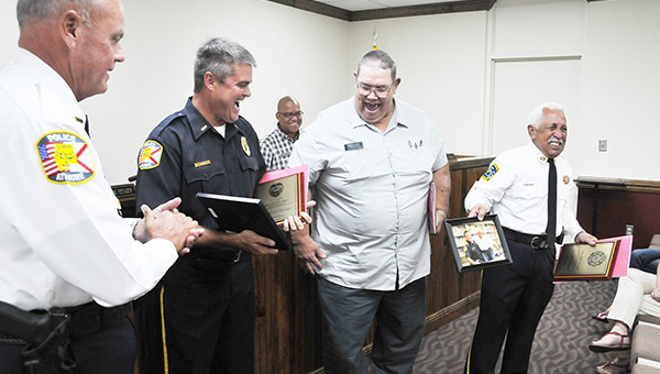 Don Whatley (center) reacts during a city Atmore City Counci meeting last August. Whatley died last week at the age of 66. | Andrew Garner/Atmore Advance