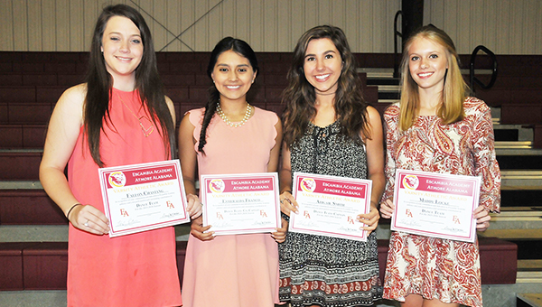 Dance team members Fallon Chastang, Esmeralda Franco, Abigail Smith and Maddy Lock pose for a photo at the banquet. |                                                   Andrew Garner/Atmore advance