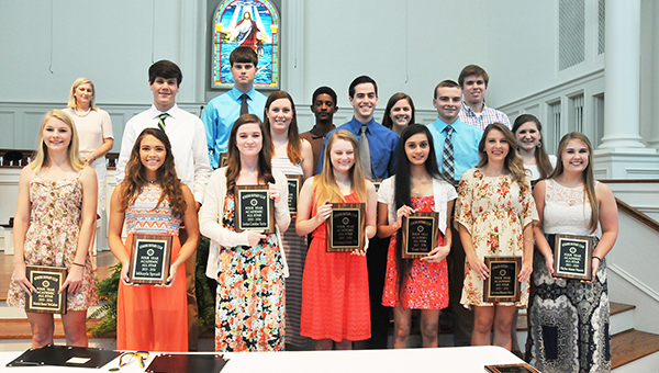 Those who were named as Four-Year Academic All-Stars include: Madelyn Boatwright, Christopher Gehman, Ethan Heller and Jurjevich of ACS; Noah Blue, Kajal Patel and Mikayla Spruill of Escambia Academy; and Lawrence Douglas, Abbie Johnson, Trevor Levins, Moriah McGahan, Jason Perritt, Savanna Roux, Jordan Taylor, Harmoni Till, Haylee Weaver and Madison Weber of Northview High School. | Andrew Garner/Atmore Advance