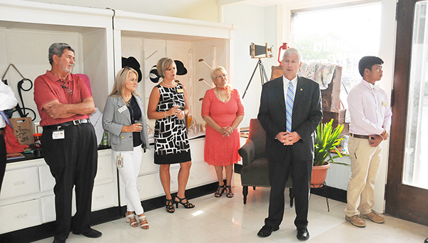 State Rep. Alan Baker talks to the crowd at the breakfast Tuesday morning. | Andrew Garner/Atmore Advance