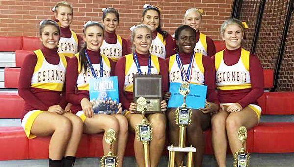 Escambia Academy varsity squad shown in the front row from L to R: Melanie Fournier, Kallie Byrd (co-captain, UCA All-American), Bailey Lancaster (captain, Pin-it-Forward Recipient, UCA All-American and UCA Staff Candidate), Tenethia Wheeler (co-captain, Pin-it-Forward Recipient, UCA All-American, AISA All-star and UCA Staff Candidate) and Victoria Sawyer. Shown in the back row from L to R: Bailey Hayles, Brandy Wooten, Gabby McGhee and Mary Thompson Lancaster. | Submitted photo