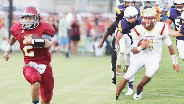 Escambia Academy's Kainoa Gumapac runs the ball during the Abbeville Christian game. Northview's Luke Ward rushes for a gain.