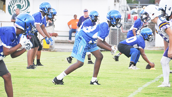Escambia County competed at a 7-on-7 football tournament last Tuesday at Flomaton High School. The Blue Devils tied Excel and competed well against J.U. Blacksher.                                                                                           Andrew Garner/Atmore ADvance