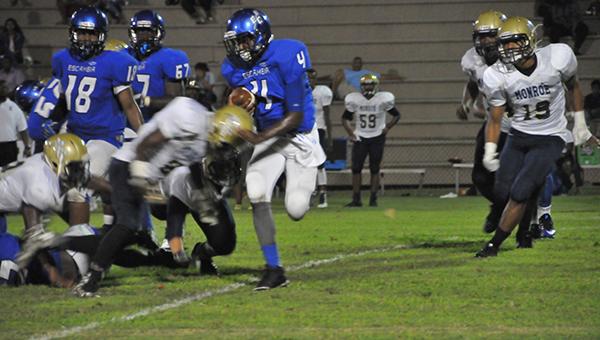 Escambia County's Devon Robinson scored three touchdowns for the Blue Devils last night. | Andrew Garner/Atmore Advance